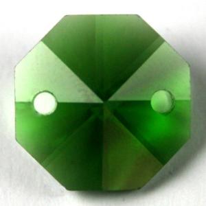 Ottagono 20 mm verde cristallo vetro molato 2 fori