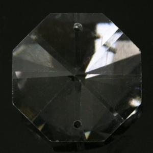 Ottagono 24 mm trasparente puro cristallo vetro molato 2 fori 16 facce