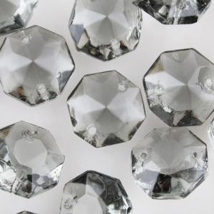 Ottagono cristallo 18 mm vetro Boemia colore grigio, 2 fori per lampadari