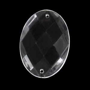 Ovale 35 mm, cristallo acrilico sfaccettato 2 fori, colore puro trasparente.