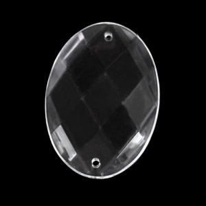 Ovale 40 mm, cristallo acrilico sfaccettato 2 fori, colore puro trasparente