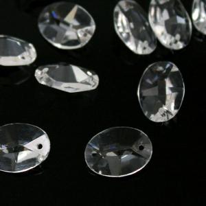 Ovalino a due fori 24 mm - Cristallo Vetro molato