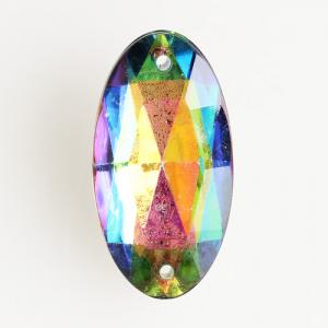 Ovalino a due fori 34 mm color iridato - Cristallo Vetro veneziano perla per lampadari