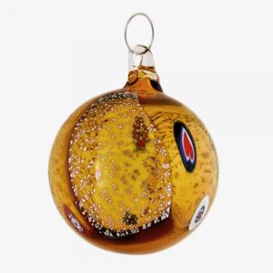 Palla di natale vetro Murano ambra scuro con foglie argento e murrine colorate