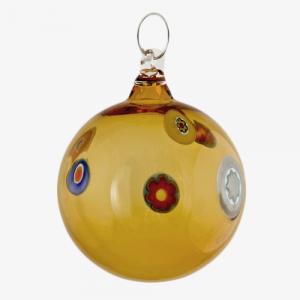 Palla di natale vetro Murano ambra scuro e murrine colorate