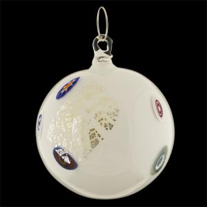 Palla di natale vetro Murano bianca con foglie argento e murrine colorate
