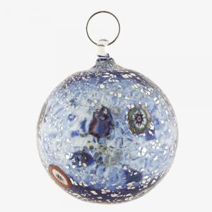 Palla di natale vetro Murano blu tutto argento con murrine colorate