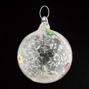 Palla di natale vetro Murano cristallo tutto argento con murrine colorate