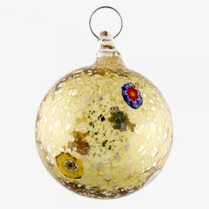 Palla di natale vetro Murano fumè tutto argento e murrine colorate