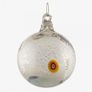 Palla di natale vetro Murano grigio chiaro con foglie argento e murrine colorate