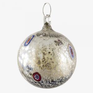 Palla di natale vetro Murano grigio chiaro tutto argento con murrine colorate