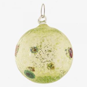 Palla di natale vetro Murano lime tutto argento con murrine colorate