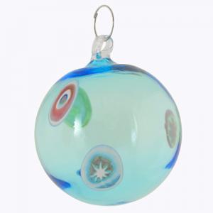 Palla di natale vetro Murano turchese e murrine colorate