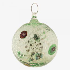 Palla di natale vetro Murano verde lago tutto argento con murrine colorate