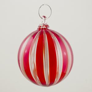 Palla Natale vetro Murano soffiato filigrana multicolore e avventurina colore rosso e cristallo
