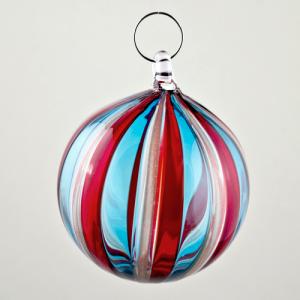 Palla Natale vetro Murano soffiato filigrana multicolore e avventurina colore rosso e turchese