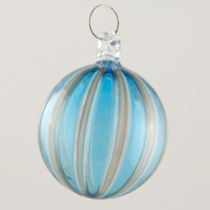 Palla Natale vetro Murano soffiato filigrana multicolore e avventurina colore turchese e cristallo