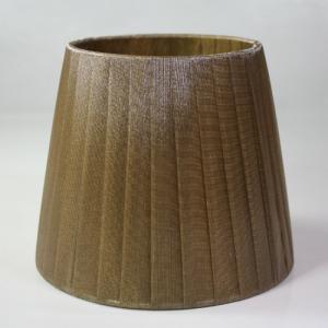 Paralume 14x10x12 cm tronco conico rivestito da organza fume' n°5. Montatura argento attacco a molla.