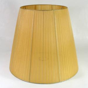 Paralume 40x25x35 cm tronco cono, organza ambra chiaro, telaio argento. Attacco E27