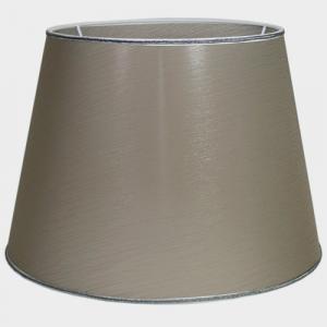 Paralume Ø35 Ø25 h25 cm tronco conico tessuto color tortora, passamaneria argento. Attacco E27