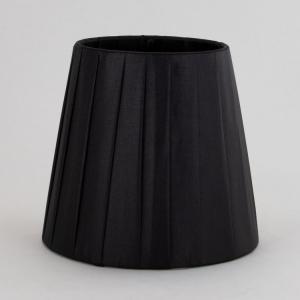 Paralume tronco cono Ø13 x Ø9 x h12 cm - cotonette plissè nero - attacco a molla - telaio bianco