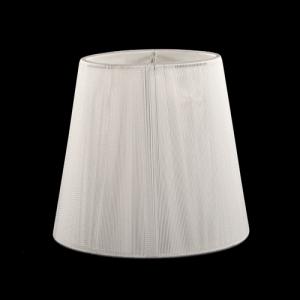 Paralume tronco cono Ø13 x Ø9 x h12 cm - fili di tessuto bianco - attacco a molla