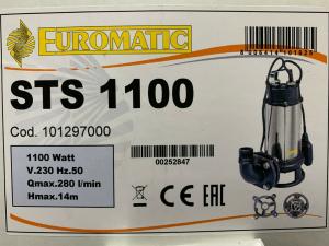 ELETTROPOMPA SOMMERSA SPERONI EUROMATIC STS 1100/S TRITURATRICE PER ACQUE NERE/ FOGNA