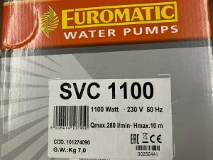POMPA SOMMERSA elettrica Euromatic SVC 1100 w per acque cariche - Prof. fino a 10 Mt