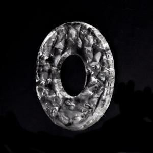 Anello disco 15 cm vetro Murano cristallo con foro