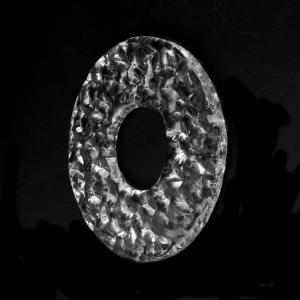 Anello disco 18 cm vetro Murano cristallo con foro