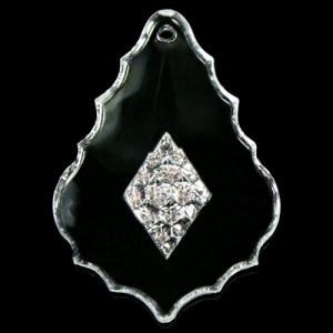 Pendente foglia barocca 63 mm decorata, cristallo acrilico trasparente