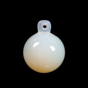 Pendente sfera 30 mm color opalino + codolo con foro. Vetro Murano.