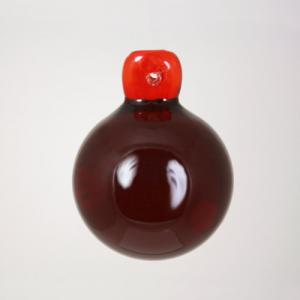 Pendente sfera 40 mm rosso + codolo con foro. Vetro Murano.