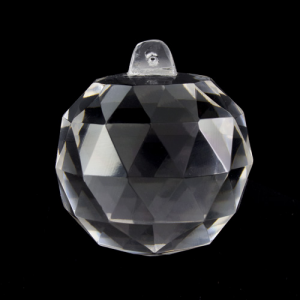Pendente sfera Ø60 mm sfaccettata in cristallo di Boemia. Cristallo vintage per restauro lampadari.