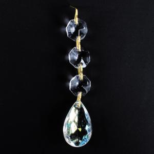 Pendente strenna decorativa con ottagoni e mandorla in vetro iridato colore aurora boreale. Lunghezza 10 cm