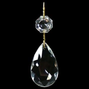 Pendente strenna decorativa con ottagono e mandorla in cristallo veneziano. Clip ottone brillante.
