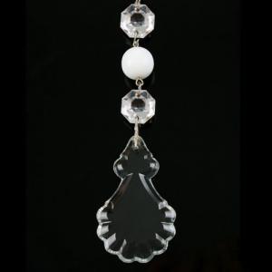 Pendente strenna decorativa in cristallo e pasta di vetro bianca h 12 cm.