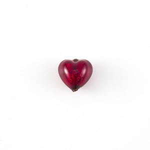Perla cuore in vetro di Murano 10 mm. Vetro rosso, foglia oro sommersa e foro passante per bigiotteria