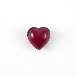 Perla cuore in vetro di Murano 12 mm. Vetro rosso, foglia oro sommersa e foro orizzontale passante per bigiotteria