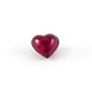 Perla cuore in vetro di Murano 12 mm. Vetro rosso, foglia oro sommersa e foro passante per bigiotteria
