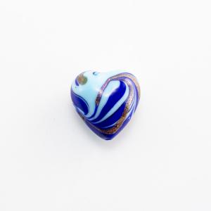 Perla di Murano a cuore 20 mm vetro blu e azzurro con avventurina e foro passante