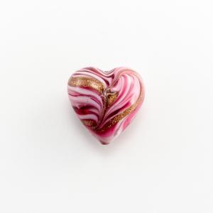 Perla di Murano a cuore 20 mm vetro rosa e rubino con avventurina e foro passante