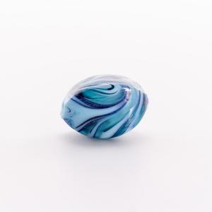 Perla di Murano a oliva 20 mm, vetro  azzurro, turchese con avventurina blu. Foro passante.
