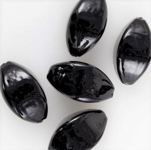Perla di Murano a oliva 25 mm, vetro nero pasta vitrea con foro passante.