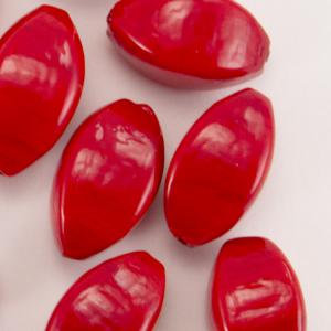 Perla di Murano a oliva 25 mm, vetro rosso pasta vitrea con foro passante.