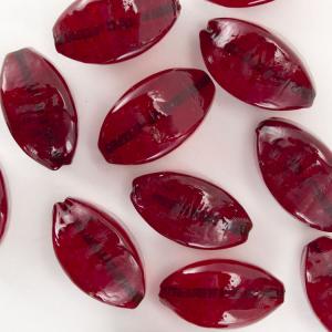 Perla di Murano a oliva 25 mm, vetro rosso trasparente con foro passante.