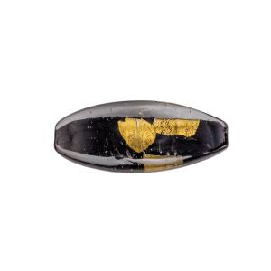Perla di Murano a oliva 42mm. Vetro sommerso, grigio, nero con foglia oro sommersa.