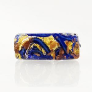 Perla di Murano cilindro Medusa Ø8x20. Vetro blu, foglia oro e avventurina blu. Foro passante.