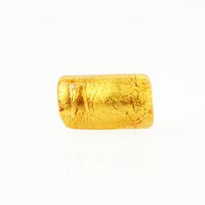 Perla di Murano cilindro Sommerso Ø8x15. Vetro ambra, foglia oro. Foro passante.