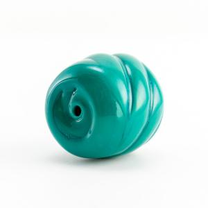 Perla di Murano melone tinta unita Ø18. Vetro verde acqua. Foro passante.